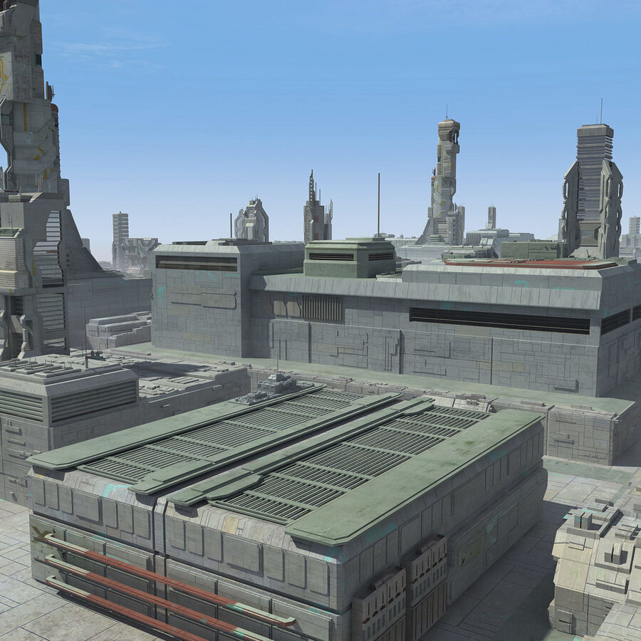 Sci-Fi City Cityscape royalty-free 3d model - Preview no. 23