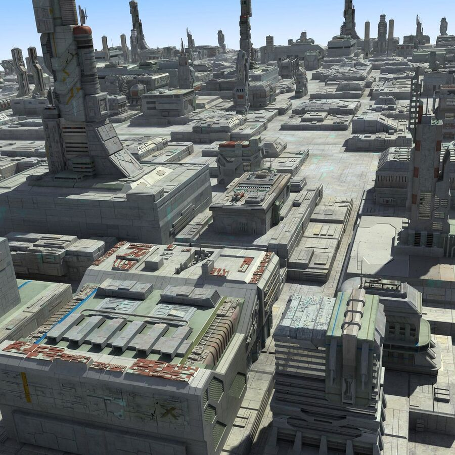 Sci-Fi City Cityscape royalty-free 3d model - Preview no. 3