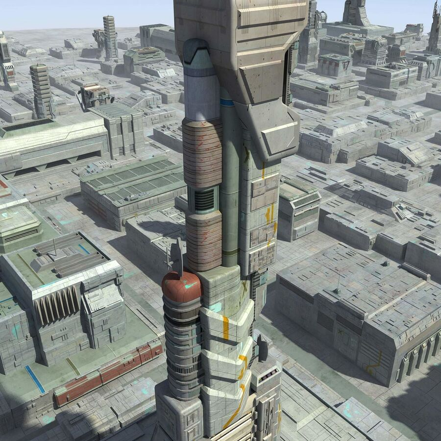 Sci-Fi City Cityscape royalty-free 3d model - Preview no. 22