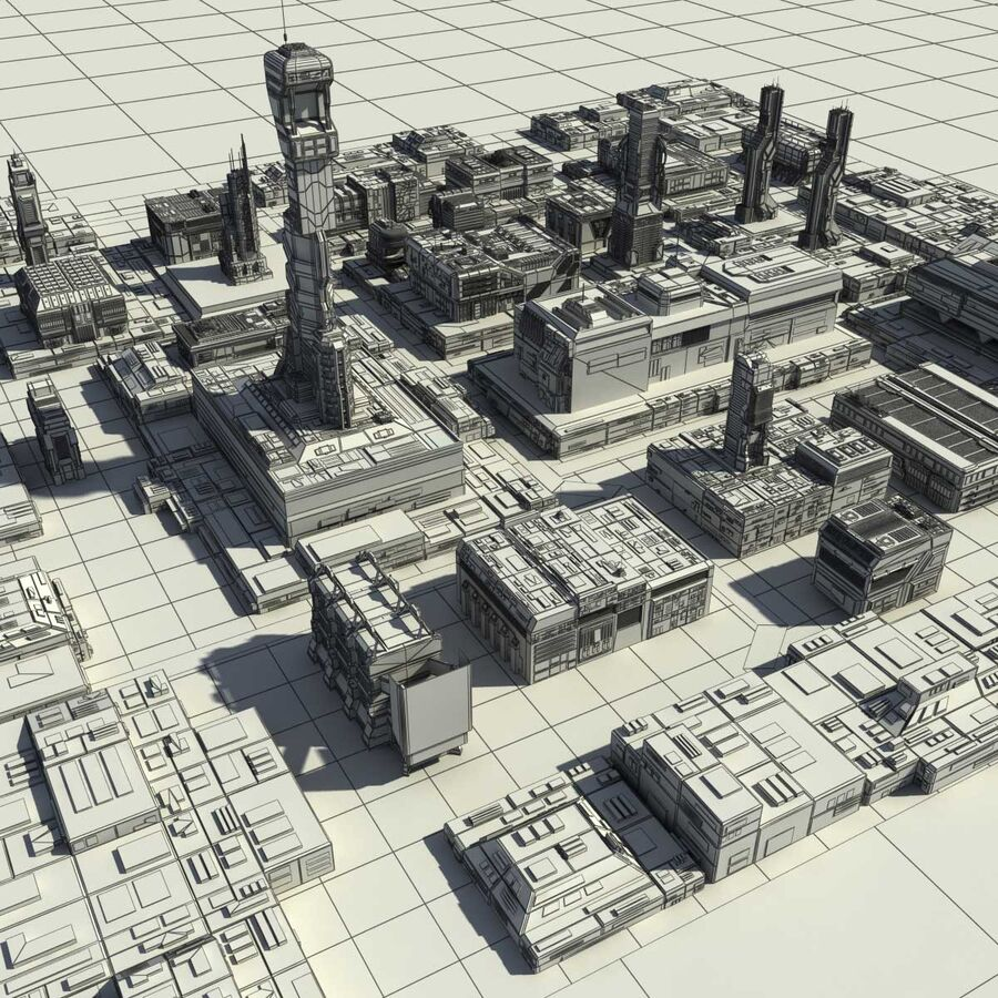 Sci-Fi City Cityscape royalty-free 3d model - Preview no. 26