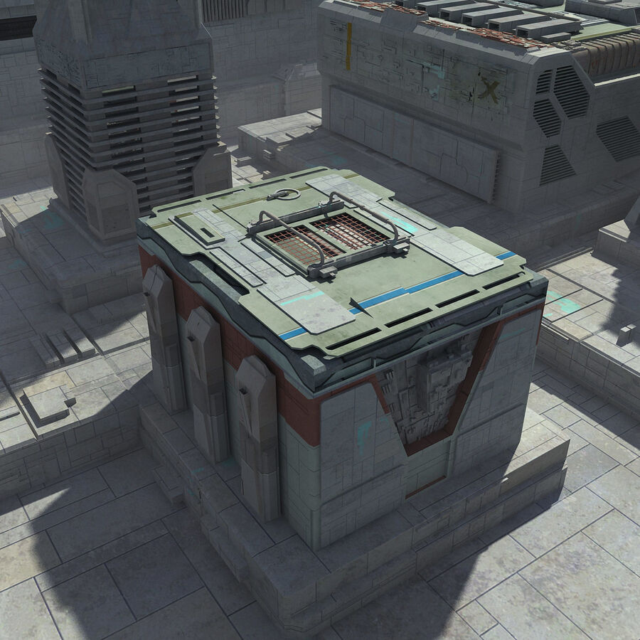 Sci-Fi City Cityscape royalty-free 3d model - Preview no. 17