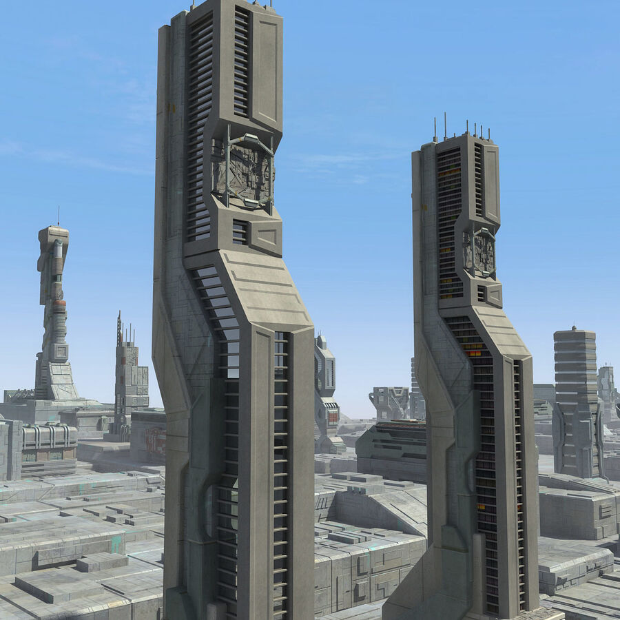 Sci-Fi City Cityscape royalty-free 3d model - Preview no. 25