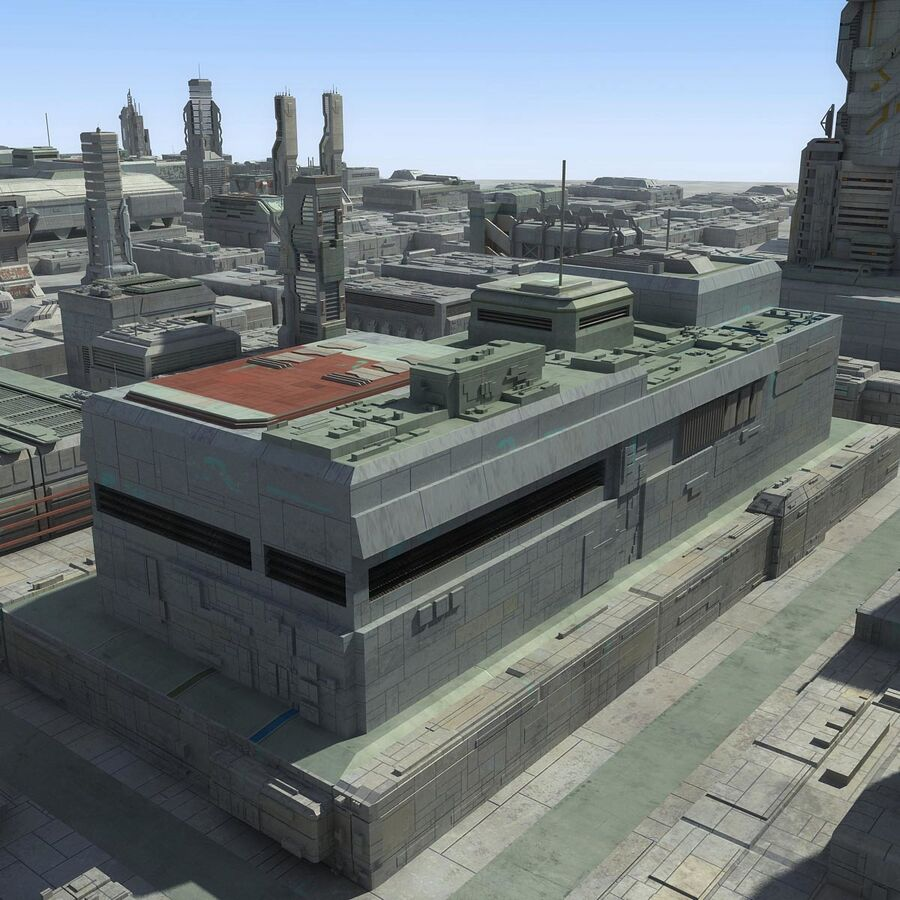 Sci-Fi City Cityscape royalty-free 3d model - Preview no. 12