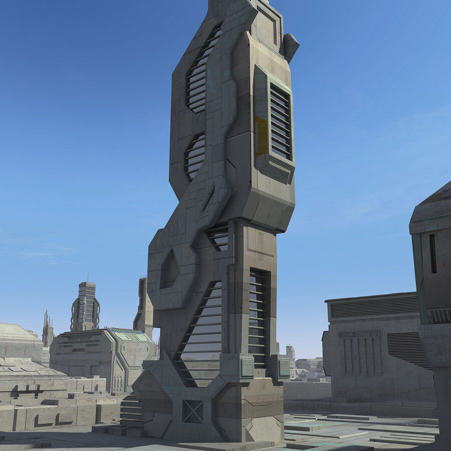 Sci-Fi City Cityscape royalty-free 3d model - Preview no. 19