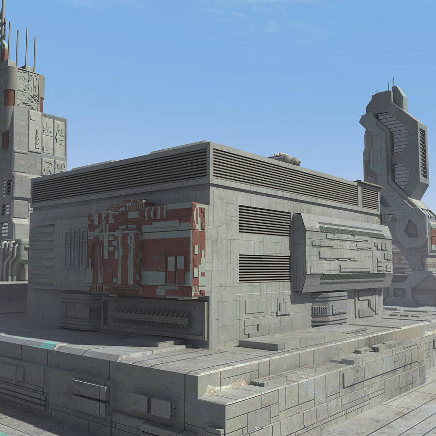 Sci-Fi City Cityscape royalty-free 3d model - Preview no. 18
