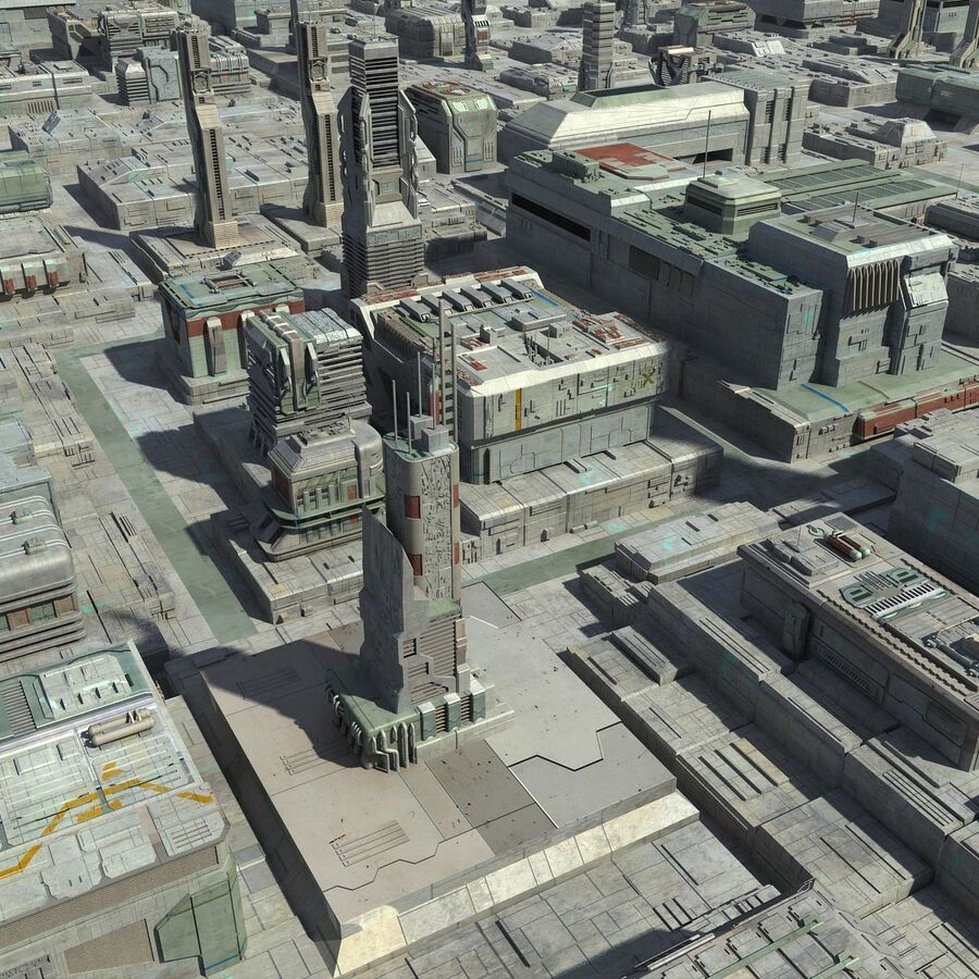 Sci-Fi City Cityscape royalty-free 3d model - Preview no. 5