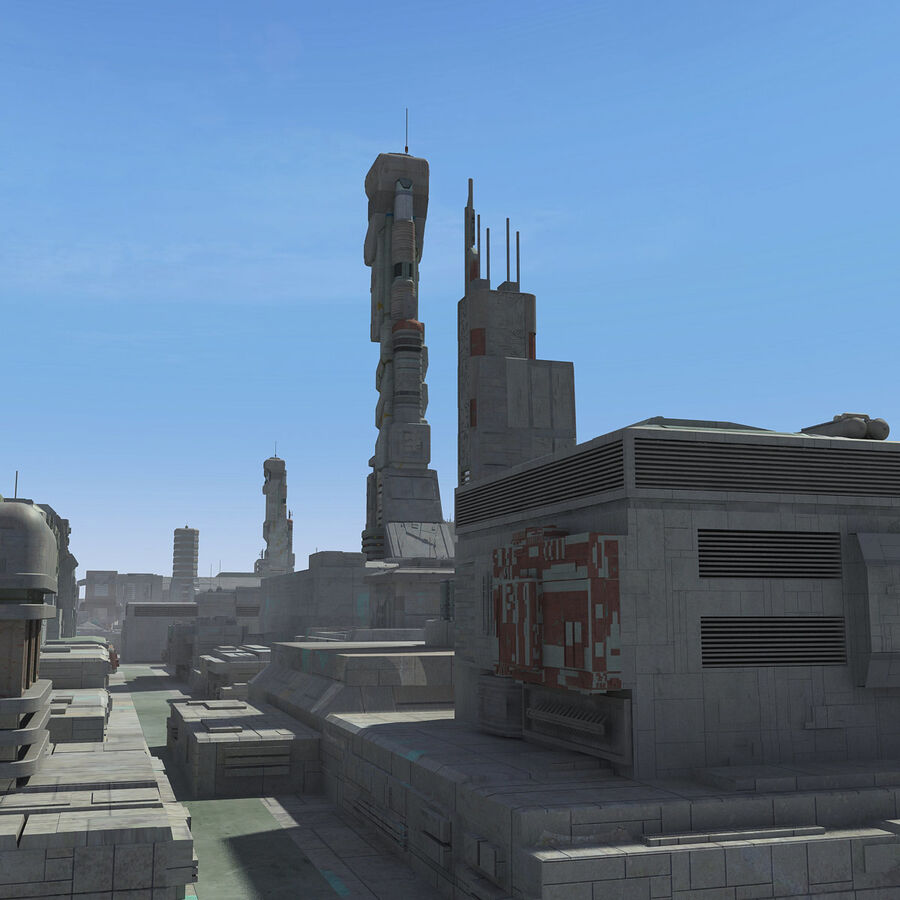 Sci-Fi City Cityscape royalty-free 3d model - Preview no. 8