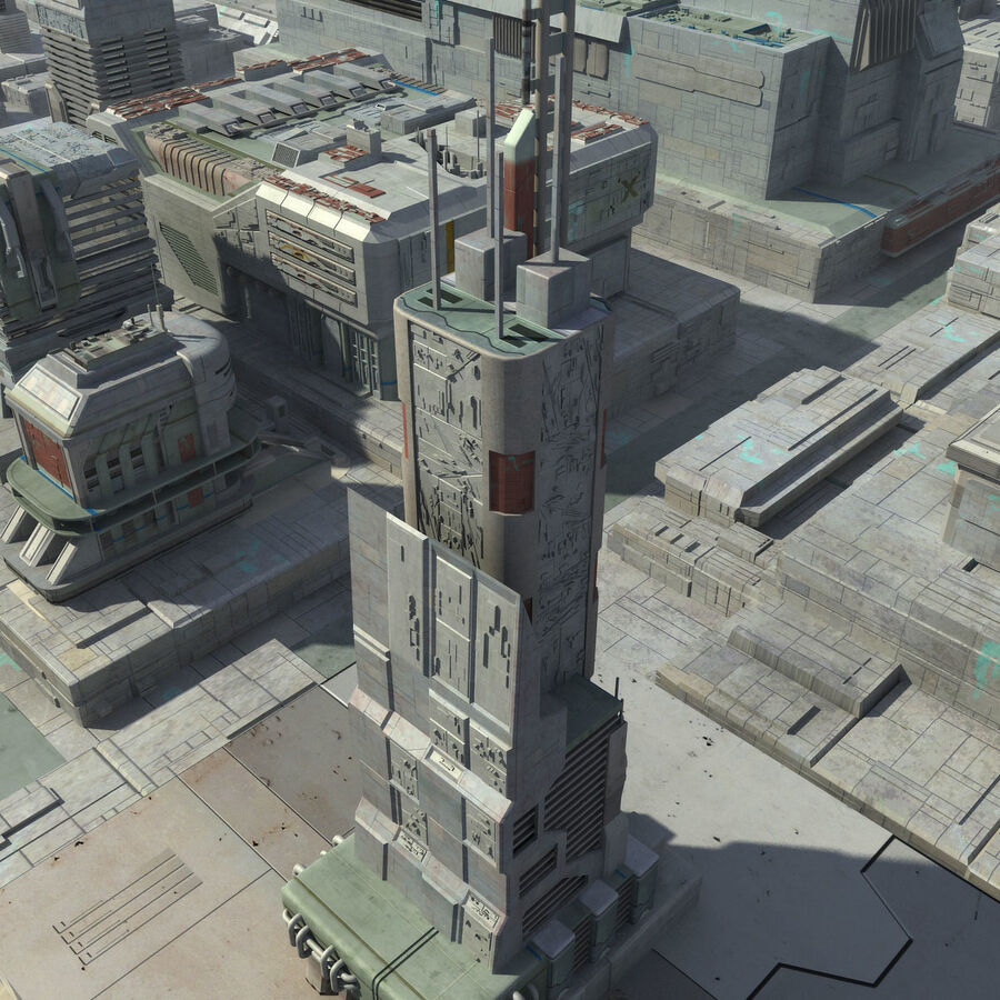 Sci-Fi City Cityscape royalty-free 3d model - Preview no. 21