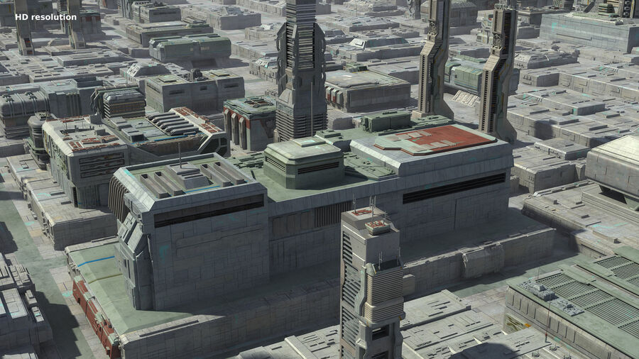 Sci-Fi City Cityscape royalty-free 3d model - Preview no. 14