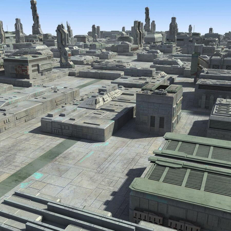 Sci-Fi City Cityscape royalty-free 3d model - Preview no. 6