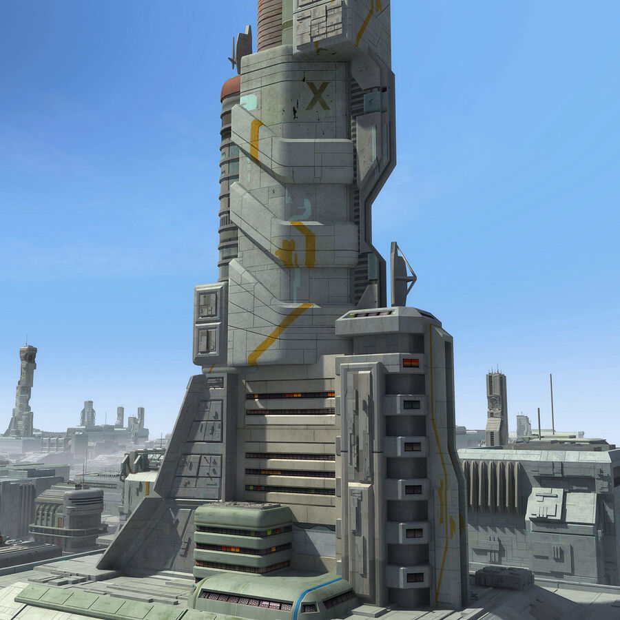 Sci-Fi City Cityscape royalty-free 3d model - Preview no. 20