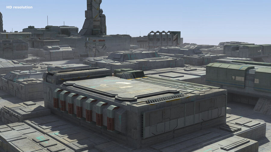 Sci-Fi City Cityscape royalty-free 3d model - Preview no. 15