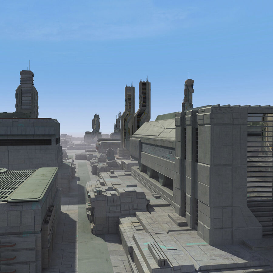 Sci-Fi City Cityscape royalty-free 3d model - Preview no. 10