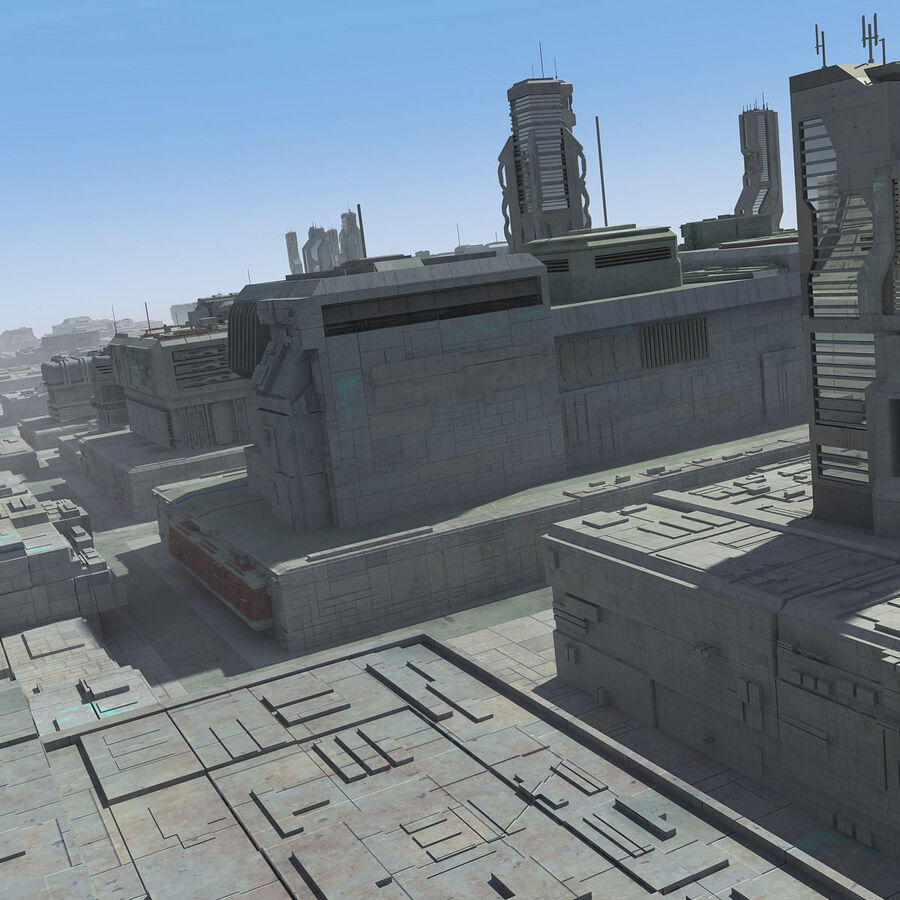 Sci-Fi City Cityscape royalty-free 3d model - Preview no. 9