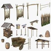 Średniowieczna treść wioski 3d model