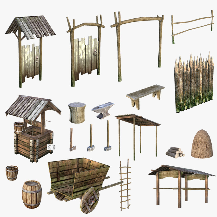 Medieval Village Content royalty-free 3d model - Preview no. 1