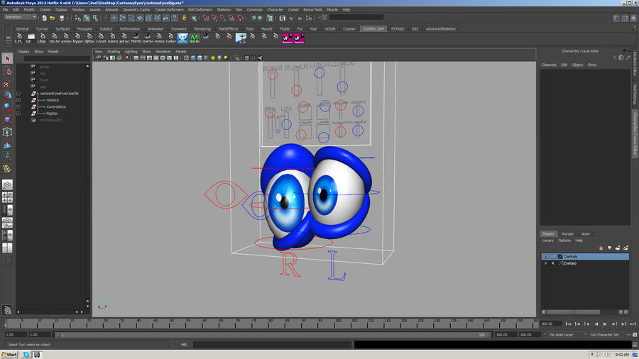 Cartoon Eyes Rig royalty-free 3d model - Preview no. 5