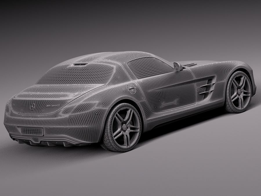 Mercedes SLS AMG Coupe Electric Drive 2014 royalty-free 3d model - Preview no. 14