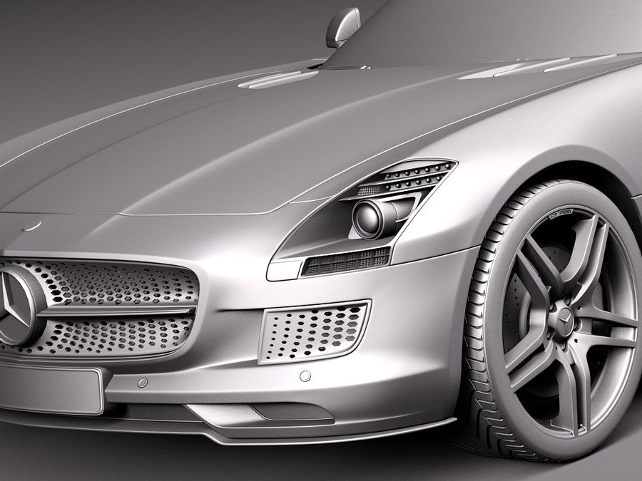 Mercedes SLS AMG Купе Электропривод 2014 royalty-free 3d model - Preview no. 10