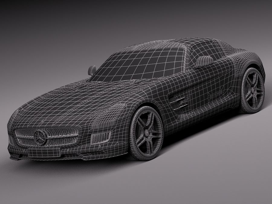 Mercedes SLS AMG Coupe Electric Drive 2014 royalty-free 3d model - Preview no. 15