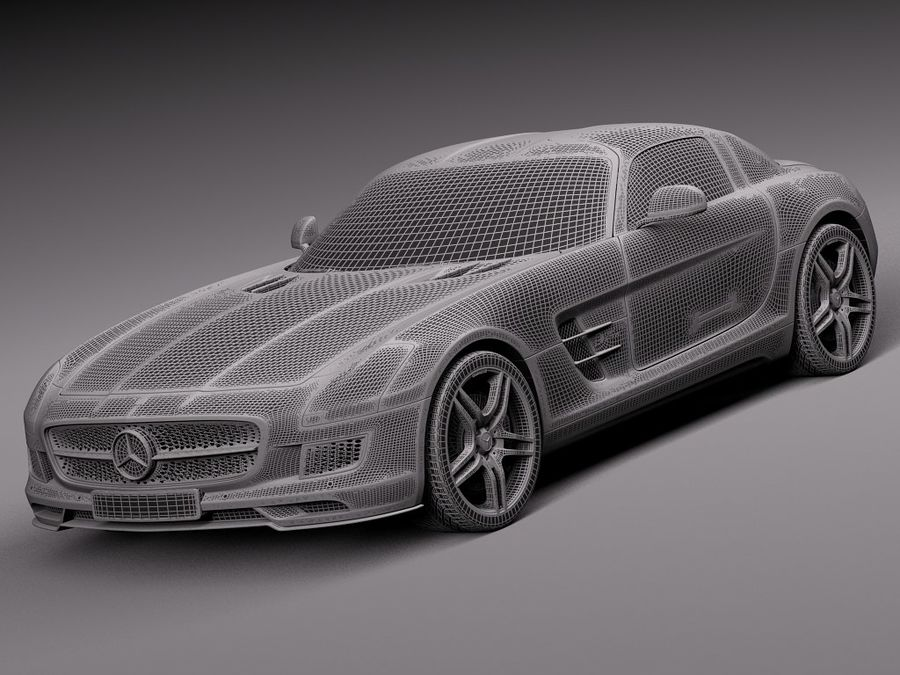 Mercedes SLS AMG Купе Электропривод 2014 royalty-free 3d model - Preview no. 13