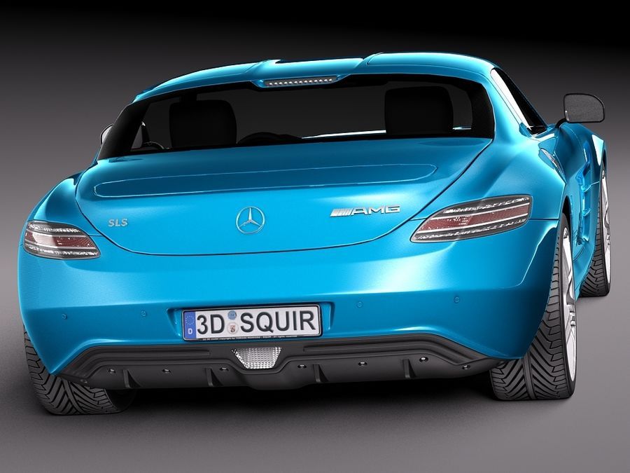 Mercedes SLS AMG Coupe Electric Drive 2014 royalty-free 3d model - Preview no. 6