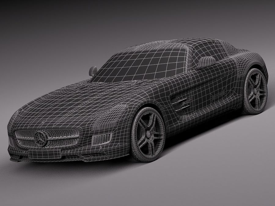 Mercedes SLS AMG Купе Электропривод 2014 royalty-free 3d model - Preview no. 15