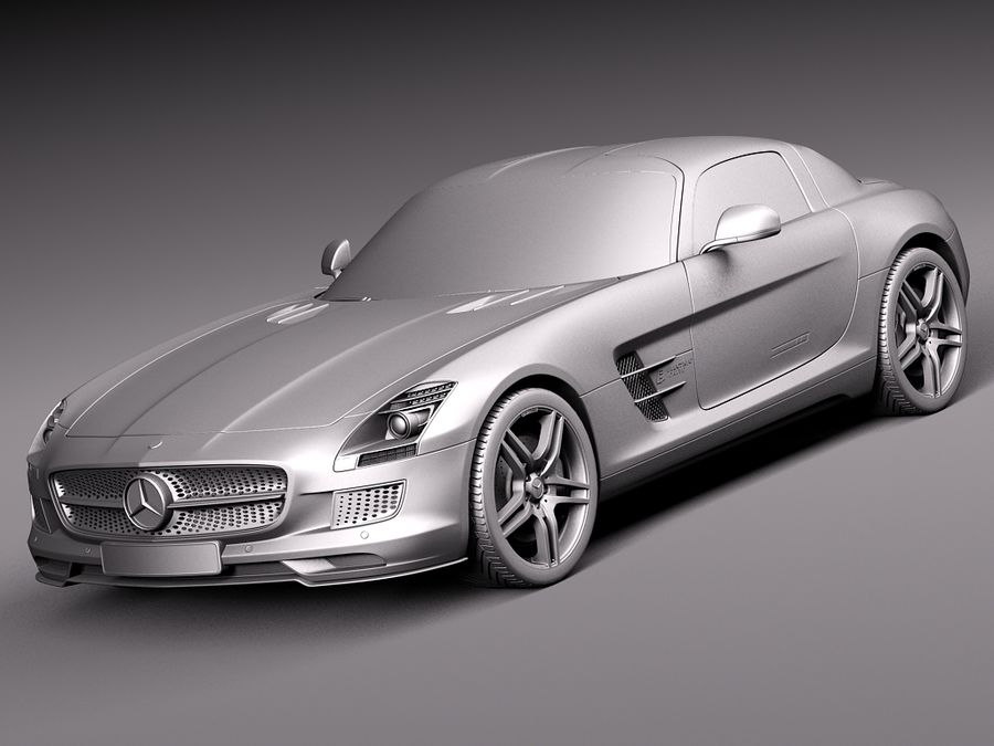 Mercedes SLS AMG Coupe Electric Drive 2014 royalty-free 3d model - Preview no. 9