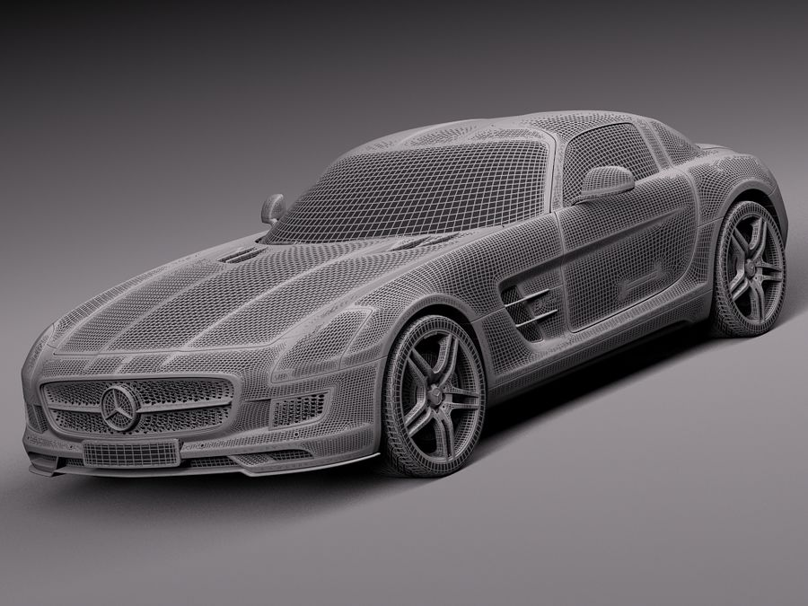 Mercedes SLS AMG Coupe Electric Drive 2014 royalty-free 3d model - Preview no. 13