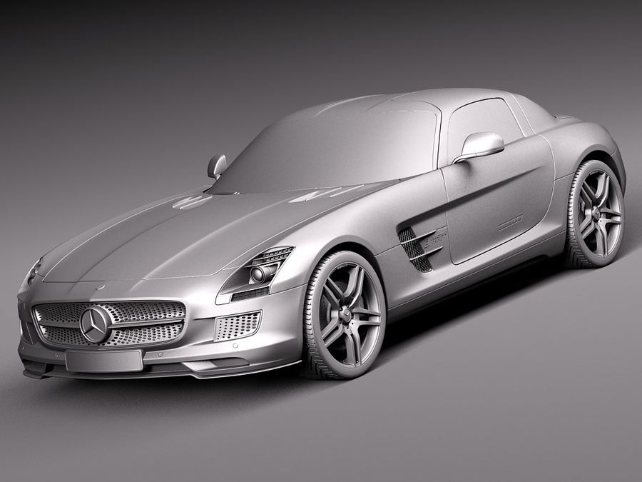Mercedes SLS AMG Купе Электропривод 2014 royalty-free 3d model - Preview no. 9
