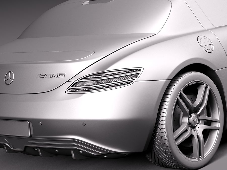 Mercedes SLS AMG Coupe Electric Drive 2014 royalty-free 3d model - Preview no. 11