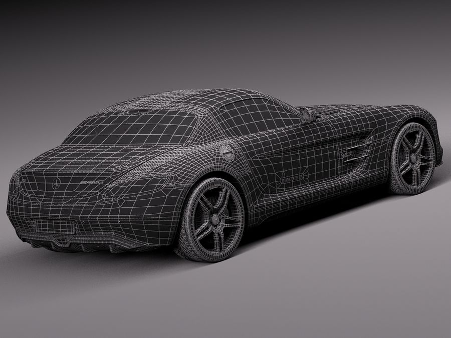 Mercedes SLS AMG Coupe Electric Drive 2014 royalty-free 3d model - Preview no. 16