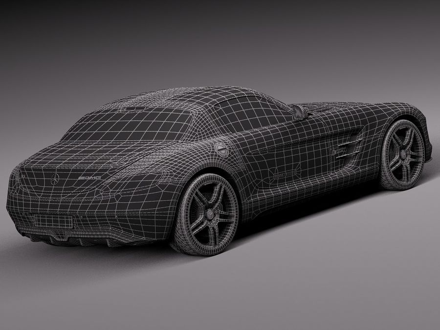 Mercedes SLS AMG Купе Электропривод 2014 royalty-free 3d model - Preview no. 16