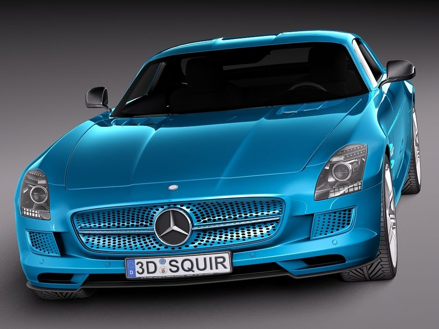 Mercedes SLS AMG Coupe Electric Drive 2014 royalty-free 3d model - Preview no. 2