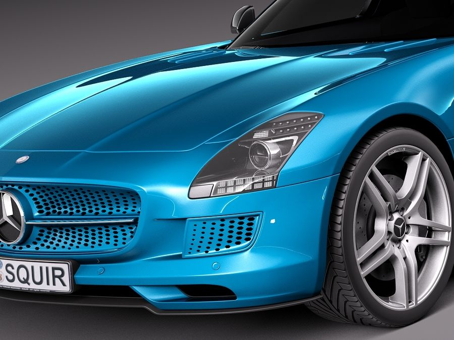 Mercedes SLS AMG Coupe Electric Drive 2014 royalty-free 3d model - Preview no. 3
