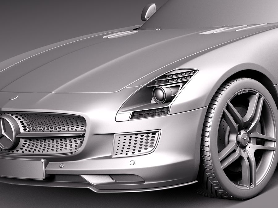 Mercedes SLS AMG Coupe Electric Drive 2014 royalty-free 3d model - Preview no. 10