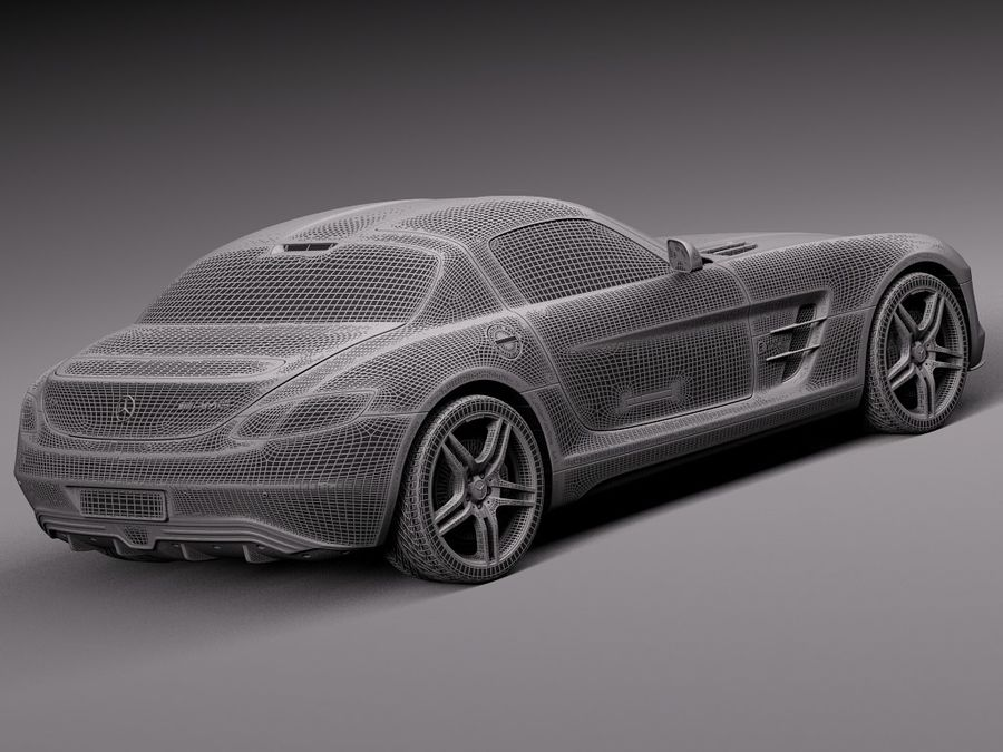 Mercedes SLS AMG Купе Электропривод 2014 royalty-free 3d model - Preview no. 14