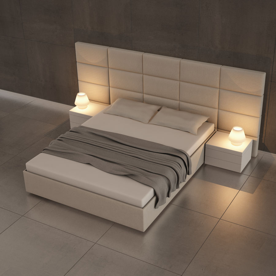 bedroom set 08 royalty-free 3d model - Preview no. 3