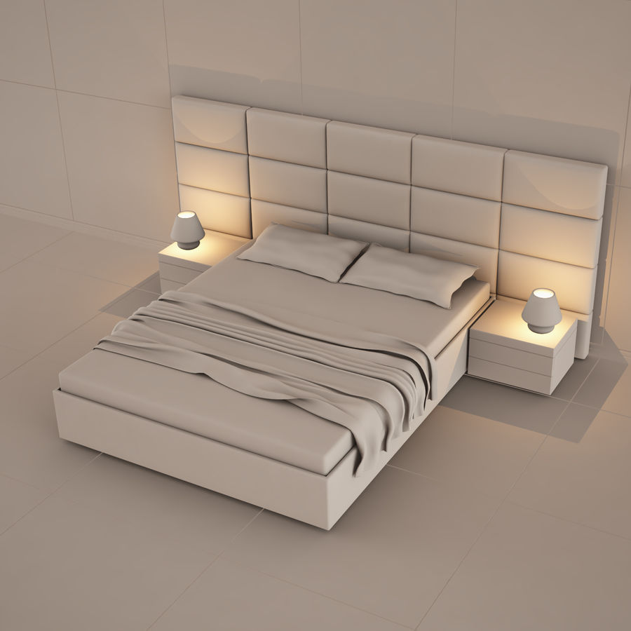 bedroom set 08 royalty-free 3d model - Preview no. 4
