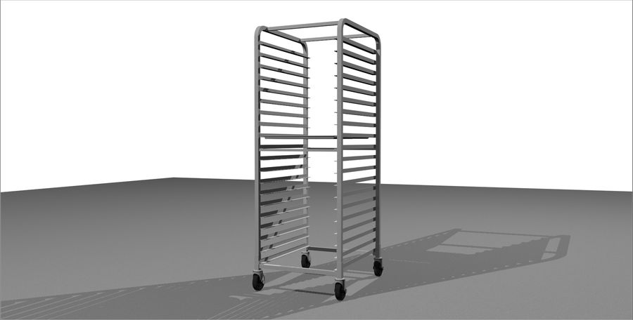 Sheet Tray Rack With Trays: Restaurant Style royalty-free 3d model - Preview no. 2