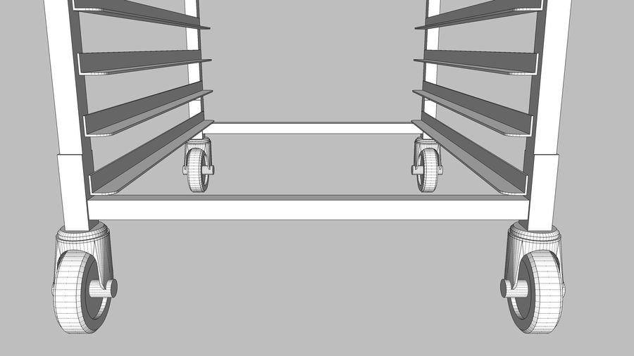 Sheet Tray Rack With Trays: Restaurant Style royalty-free 3d model - Preview no. 15