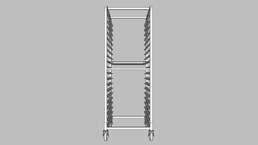 Sheet Tray Rack With Trays: Restaurant Style royalty-free 3d model - Preview no. 11