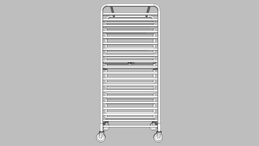 Sheet Tray Rack With Trays: Restaurant Style royalty-free 3d model - Preview no. 12