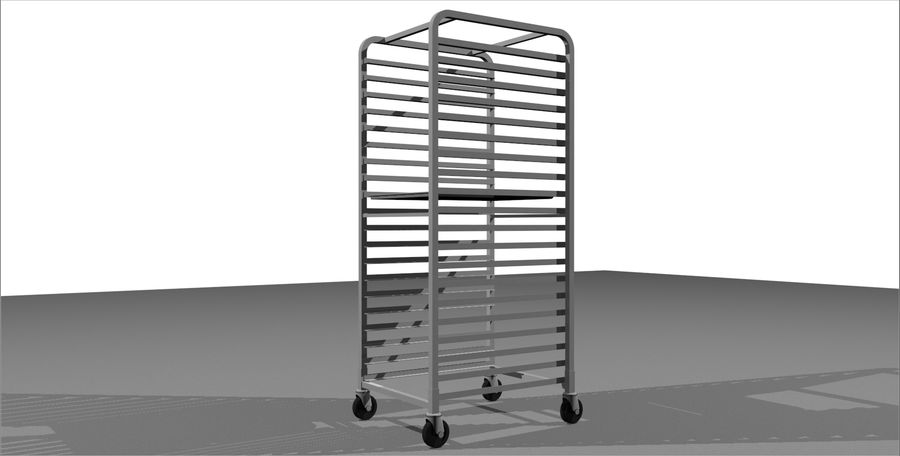 Sheet Tray Rack With Trays: Restaurant Style royalty-free 3d model - Preview no. 4