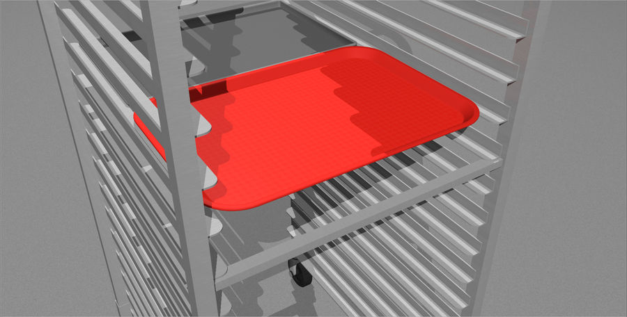 Sheet Tray Rack With Trays: Restaurant Style royalty-free 3d model - Preview no. 6