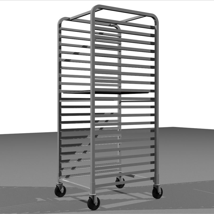 Sheet Tray Rack With Trays: Restaurant Style royalty-free 3d model - Preview no. 1