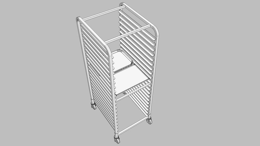 Sheet Tray Rack With Trays: Restaurant Style royalty-free 3d model - Preview no. 13