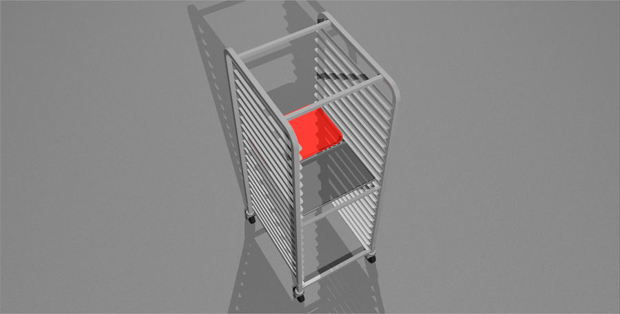 Sheet Tray Rack With Trays: Restaurant Style royalty-free 3d model - Preview no. 8