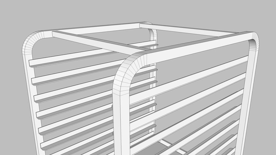 Sheet Tray Rack With Trays: Restaurant Style royalty-free 3d model - Preview no. 16