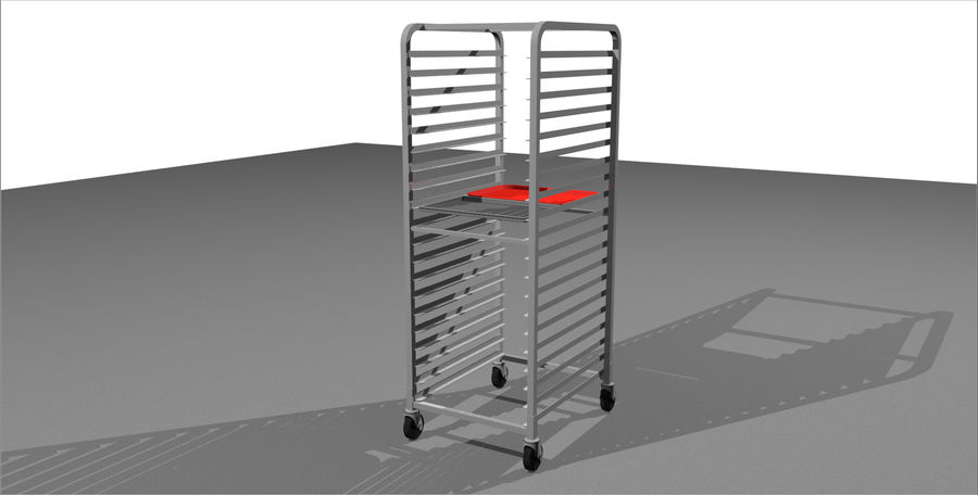 Sheet Tray Rack With Trays: Restaurant Style royalty-free 3d model - Preview no. 3